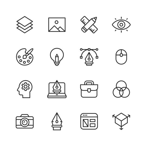 Graphic Design and Creativity Line Icons. Editable Stroke. Pixel Perfect. For Mobile and Web. Contains such icons as Graphic Design, Art Tools, Image, Image Layer, Pen, Computer Mouse, Creativity, Colour Palette, Layout, Photography. 16 Graphic Design and Creativity Outline Icons. creative occupation stock illustrations