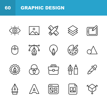 Graphic Design and Creativity Line Icons. Editable Stroke. Pixel Perfect. For Mobile and Web. Contains such icons as Creativity, Layout, Mobile App Design, Art Tools, Drawing Tablet, Typography, Colour Palette.