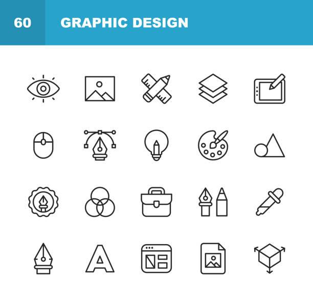 illustrations, cliparts, dessins animés et icônes de graphisme design et créativité line icônes. accident vasculaire cérébral modifiable. pixel parfait. pour mobile et web. contient des icônes telles que la créativité, la mise en page, la conception d'applications mobiles, les outils d'art, la tablet - art