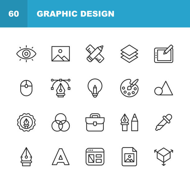 Graphic Design and Creativity Line Icons. Editable Stroke. Pixel Perfect. For Mobile and Web. Contains such icons as Creativity, Layout, Mobile App Design, Art Tools, Drawing Tablet, Typography, Colour Palette. vector art illustration