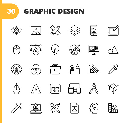 Graphic Design and Creativity Line Icons. Editable Stroke. Pixel Perfect. For Mobile and Web. Contains such icons as Creativity, Layout, Mobile App Design, Art Tools, Drawing Tablet, Typography, Colour Palette, Pencil, Ruler, Vector, Shape, Logo Design.