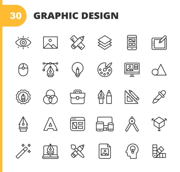 stockillustraties, clipart, cartoons en iconen met grafisch ontwerp en creativiteit lijn pictogrammen. bewerkbare slag. pixel perfect. voor mobiel en web. bevat pictogrammen zoals creativiteit, lay-out, mobile app-ontwerp, kunstgereedschappen, tekentablet, typografie, kleurenpalet, potlood, liniaal, vector - ontwerp