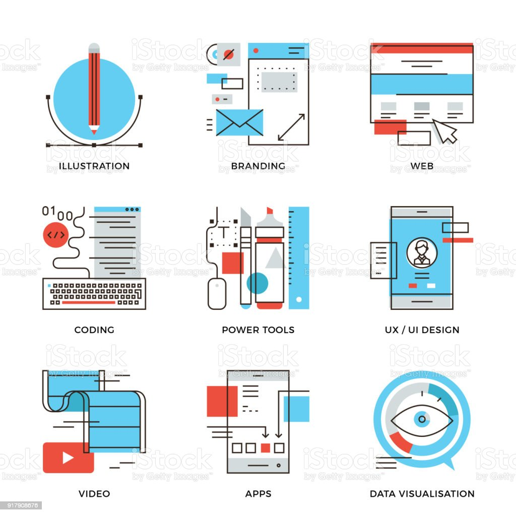 Graphic Design And Web Development Line Icons Set Stock Illustration Download Image Now Istock