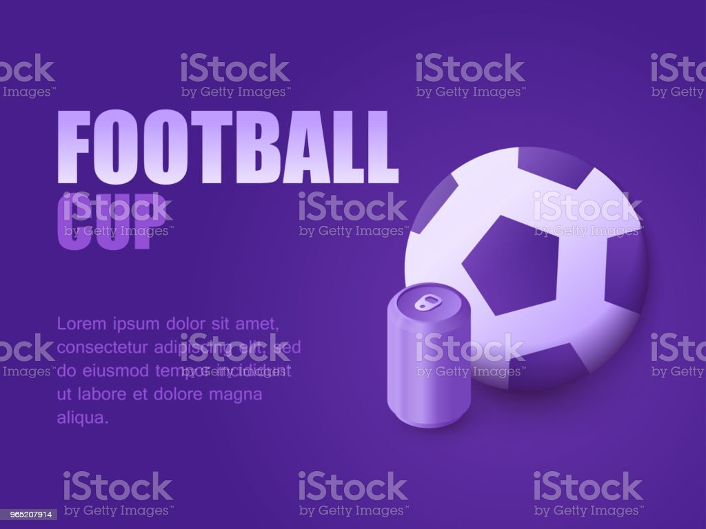 Graphic design background perspective football game live. Vector illustration isometric football ball and beer or soda can. Concept soccer cup graphic design background perspective football game live vector illustration isometric football ball and beer or soda can concept soccer cup - stockowe grafiki wektorowe i więcej obrazów czynność royalty-free