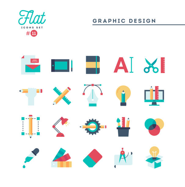 graphic design, creative package, stationary, software and more, flat icons set - projektant stock illustrations