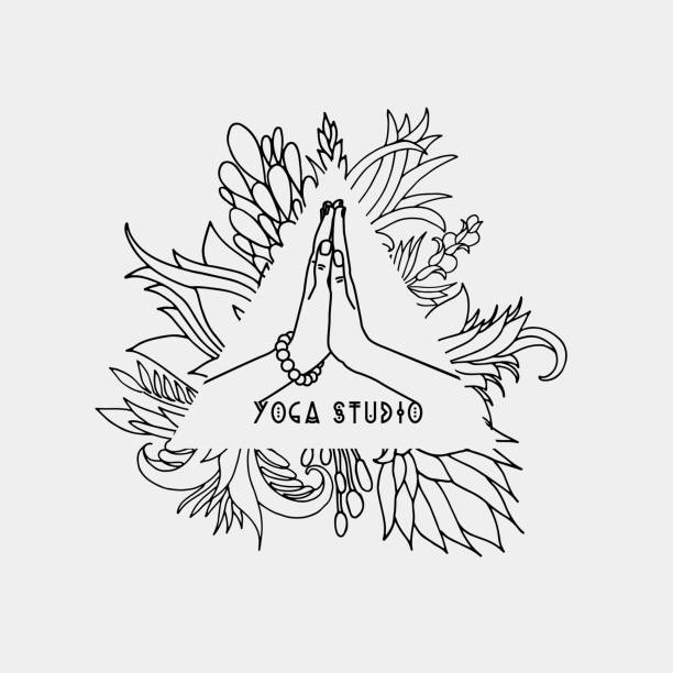 Graphic design element template for spa center or yoga studio.Hand position.Vector illustration Graphic design element template for spa center or yoga studio.Hand position.Vector illustration prayer pose yoga stock illustrations