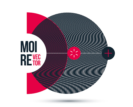 Graphic design element vector, circle moire trendy layout, poster and cover abstract modern art, optical art banner.