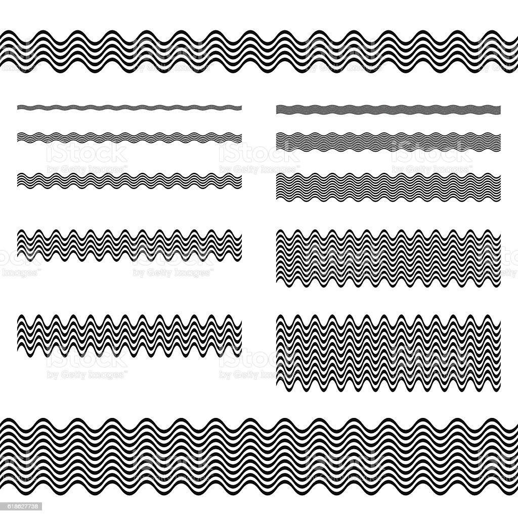 Graphic design elements - page divider line set vector art illustration