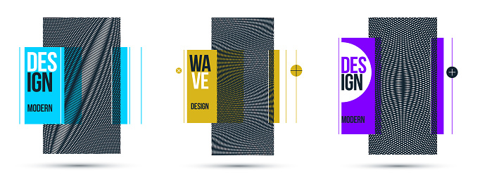 Graphic design elements vector set, moire trendy layouts, posters and covers abstract modern art, optical art banners.