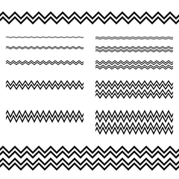 illustrazioni stock, clip art, cartoni animati e icone di tendenza di graphic design elements - zigzag line divider set - zigzag