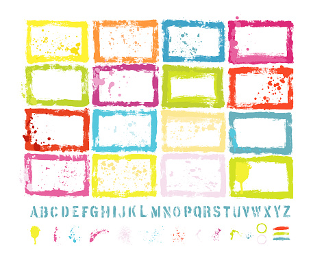 Graphic Design Essentials : Painted Page Borders with Real Scanned-In Textures, Brush Strokes , Paint Drops & Stencil Alphabet Sets. A High Resolution JPEG and a Grouped Vector File is included.