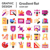 istock Graphic design flat icon set, art tools symbols collection, vector sketches, logo illustrations, drawing equipment signs color gradient pictograms package isolated on white background, eps 10. 1209505441