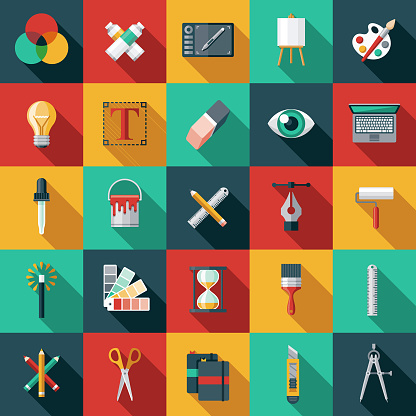 Graphic Design Flat Icon Set Stock Illustration - Download Image Now