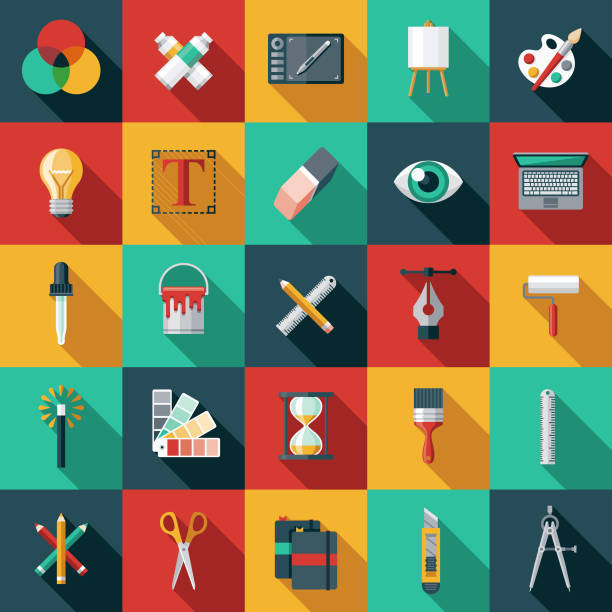 graphic design flat icon set - creative stock illustrations