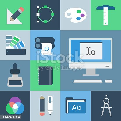 Professional icon set in flat color style. Vector artwork is easy to colorize, manipulate, and scales to any size.
