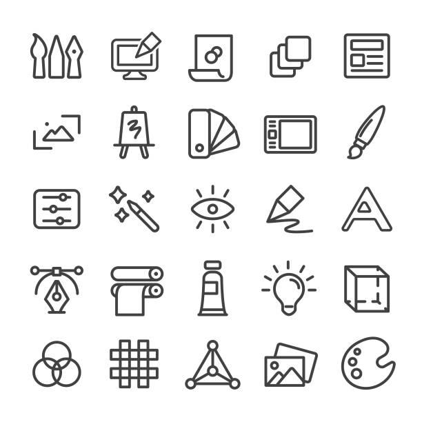 ilustrações, clipart, desenhos animados e ícones de ícone do projeto gráfico-linha esperta série - amostra de cor