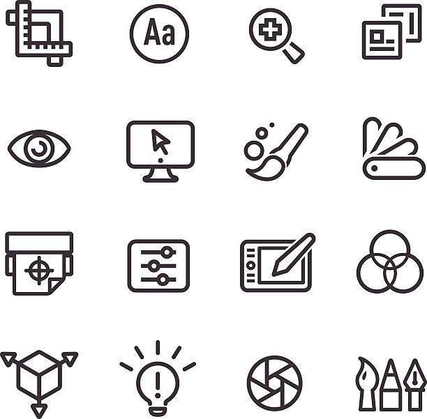 illustrations, cliparts, dessins animés et icônes de conception graphique icônes ligne series - polices ligne fine