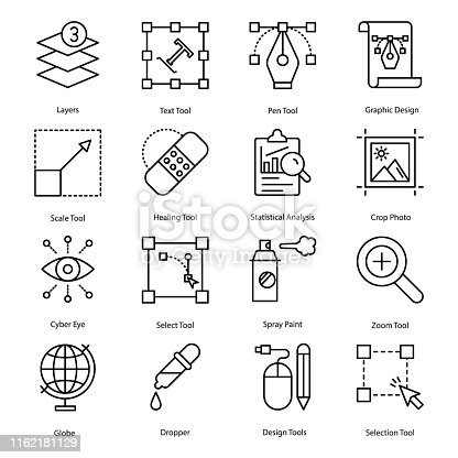 Graphic design icons pack in line design, creatively designed elements are fixable and easy to use. Grab this set.