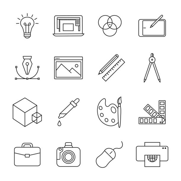 graphic design icons - arts icons stock illustrations, clip art, cartoons, & icons