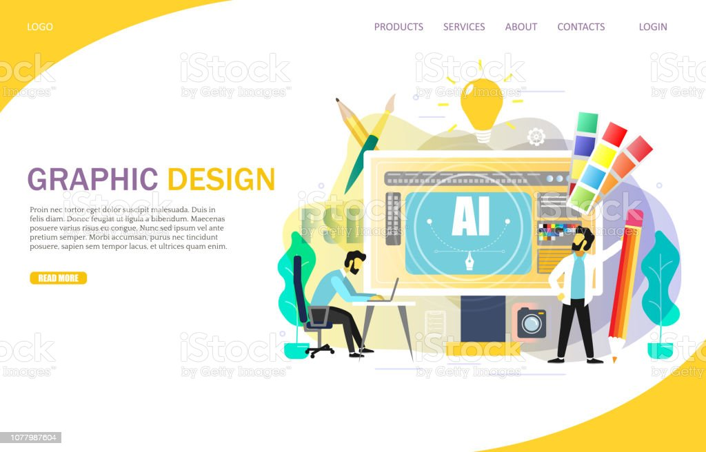 Graphic design landing page website vector template