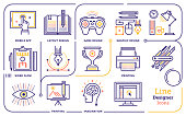 Line vector illustration of graphic design professional.