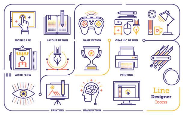 Graphic Design Line Icon Set Line vector illustration of graphic design professional. gaming marketing stock illustrations