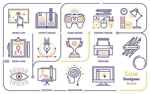 Graphic Design Line Icon Set Line vector illustration of graphic design professional. website design stock illustrations