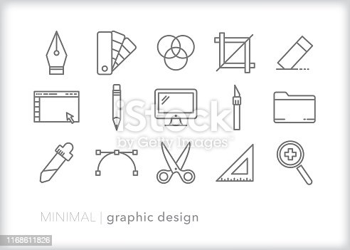 Set of 15 graphic design line icons of tools used to create computer art and layouts