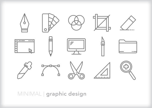 Graphic design line icon set Set of 15 graphic design line icons of tools used to create computer art and layouts design professional stock illustrations
