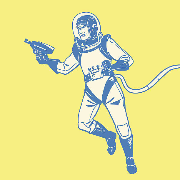 Astronauta con una pistola Ray - illustrazione arte vettoriale