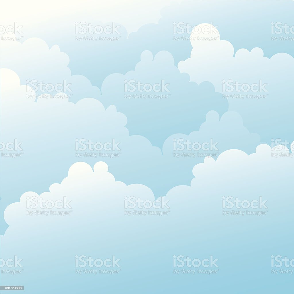 Graphic design of blue sky with white clouds royalty-free stock vector art
