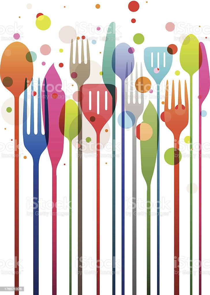Graphic design of colorful utensils vector art illustration