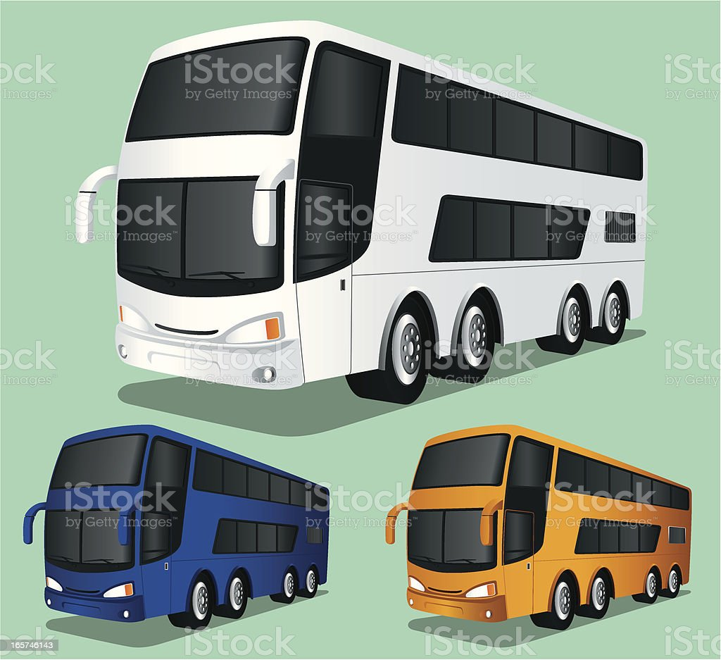 Graphic design of double decker buses vector art illustration