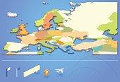 Graphic design of European map