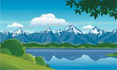 Snow capped mountains with forest, hills and lake with a background of blue sky and clouds. Art on easily edited layers.