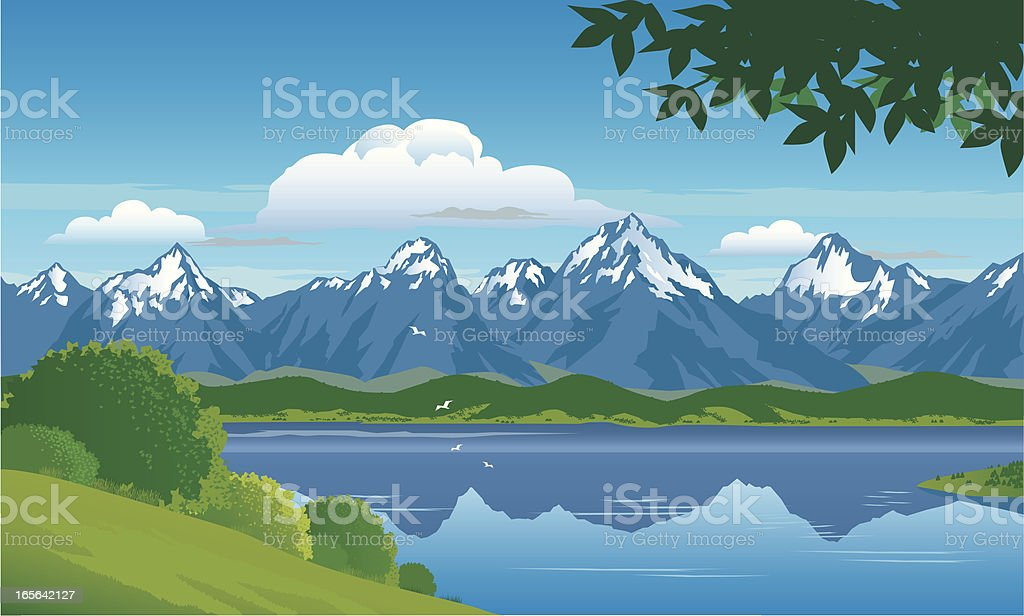 Graphic design of snow capped mountain surrounding a lake vector art illustration