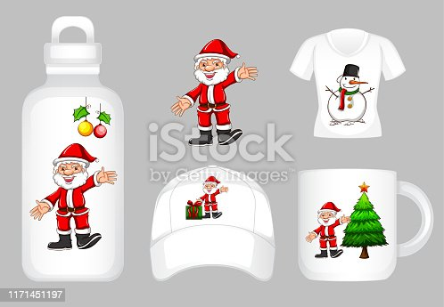 Graphic design on different products with Santa and christmas