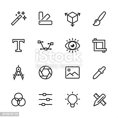 16 line black and white icons / Set #22