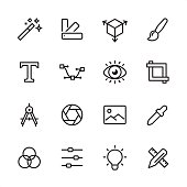 Graphic Design - outline icon set