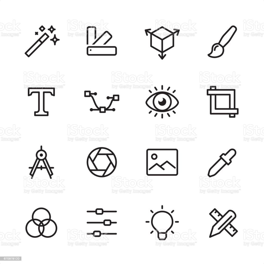 Graphic Design - outline icon set vector art illustration