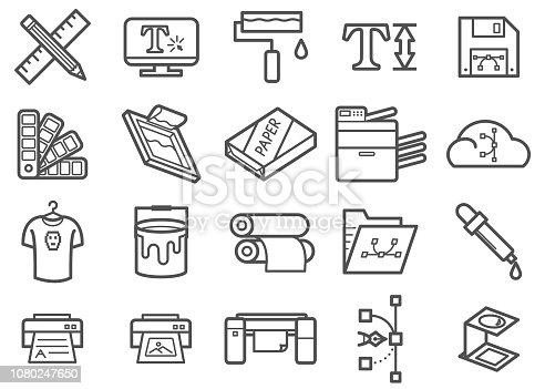 Graphic design & Print Line icons set