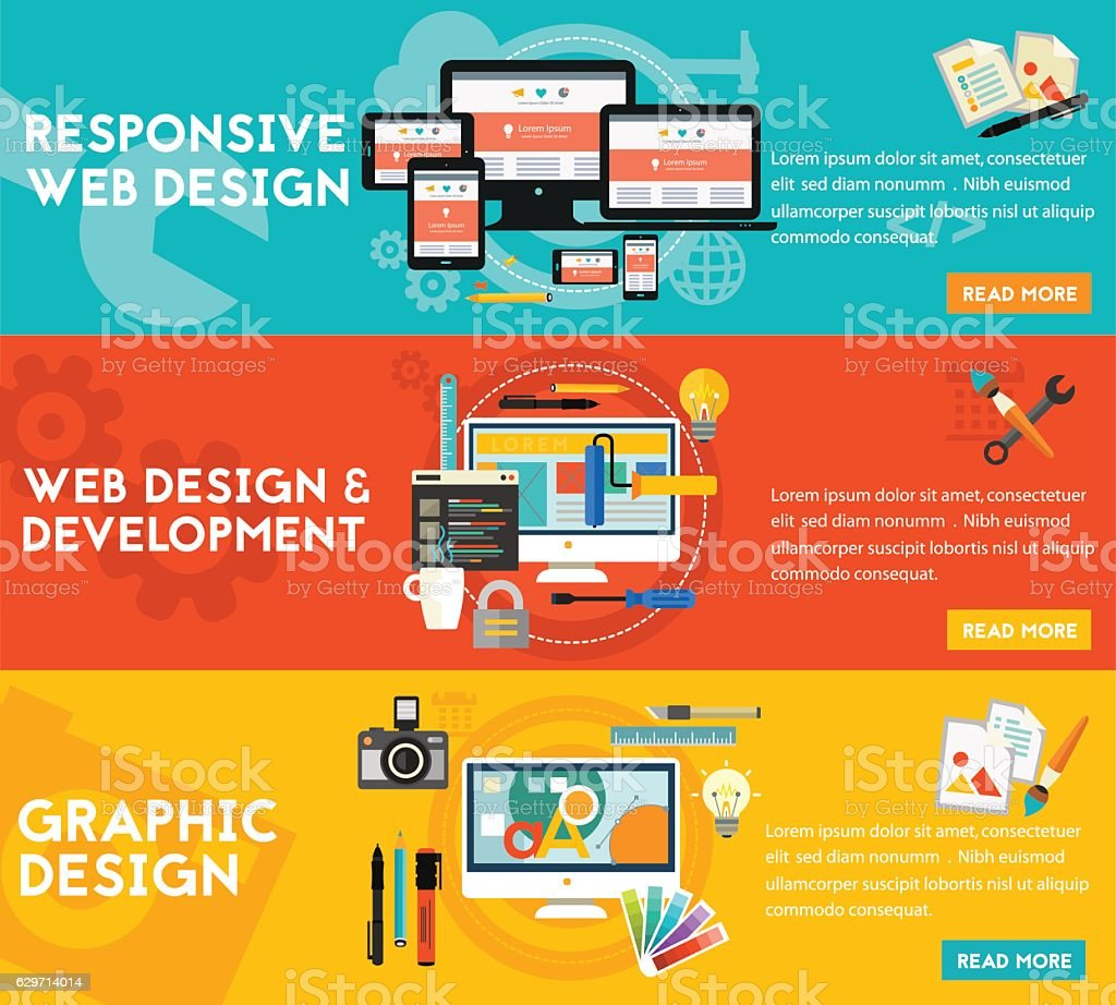 Graphic Design , Responsive Webdesign and Development Concept banners vector art illustration