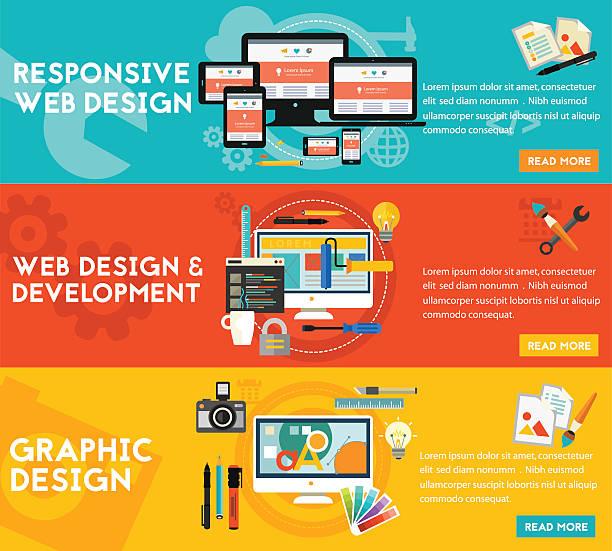 Graphic Design , Responsive Webdesign and Development Concept banners Graphic design, responsive webdesign and freelance concept. Horizontal banners website design stock illustrations