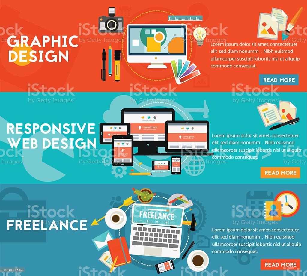 Graphic Design , Responsive Webdesign and Freeance Concept vector art illustration