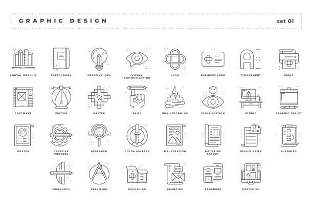 Diseño gráfico. Conjunto de iconos perfectamente. Estilo de línea fina. Variedad de metáforas visuales únicas y creativas convenientes para la amplia gama de aplicaciones. - ilustración de arte vectorial