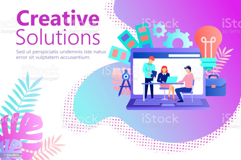 Graphic design studio banner in flat style. Creative designers team...