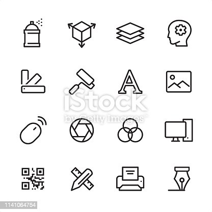 16 line black on white icons / Graphic Design Studio Set #90 Pixel Perfect Principle - all the icons are designed in 48x48pх square, outline stroke 2px.  First row of outline icons contains:  Spray Paint, Three Dimensional, Paper Stack, Ideas;  Second row contains:  Color Swatch, Paint Roller, Typescript, Photography;  Third row contains:  Computer Mouse, Aperture, Multi - Layered Effect, Desktop PC;   Fourth row contains:  QR Code, Crossed Ruler and Pencil, Printer, Nib.  Complete Inlinico collection - https://www.istockphoto.com/collaboration/boards/2MS6Qck-_UuiVTh288h3fQ