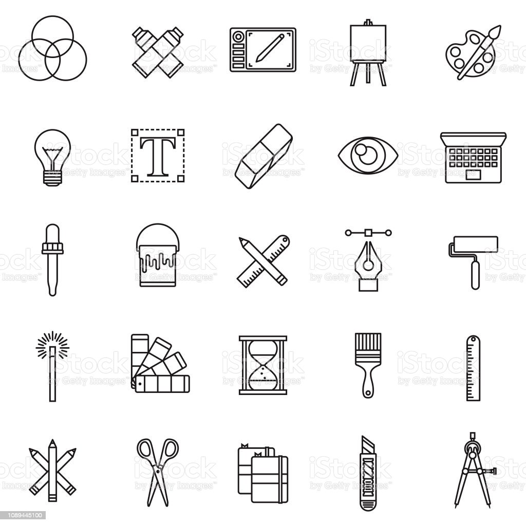 Graphic Design Thin Line Icon Set vector art illustration