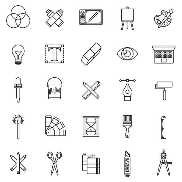 Graphic Design Thin Line Icon Set vector art illustration
