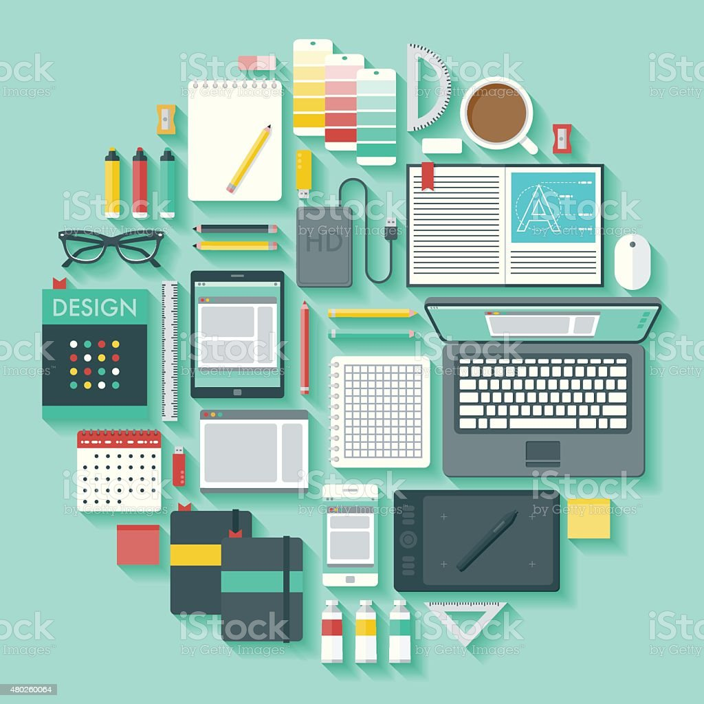 Graphic Design Vector Icon Set vector art illustration